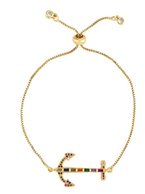 brb60 C Brass Cubic Zirconia Crown Ethnic Adjustable Bracelet