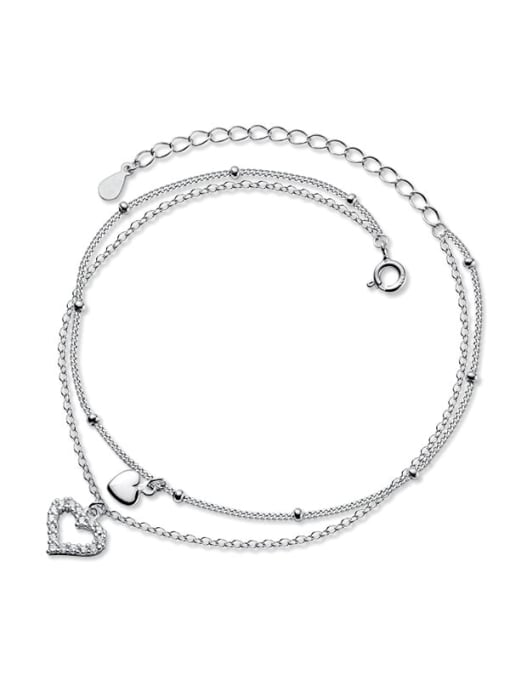 Rosh 925 Sterling Silver Cubic Zirconia Heart Minimalist  Anklet