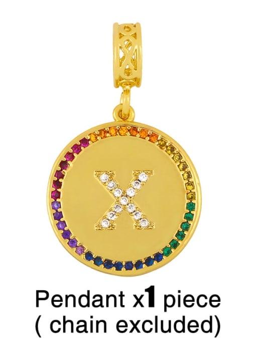 X (without chain) Copper Cubic Zirconia Rround Letter Minimalist Pendant
