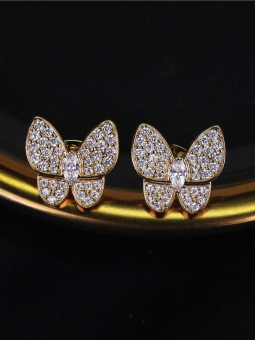 DUDU Brass Cubic Zirconia Butterfly Dainty Stud Earring 2