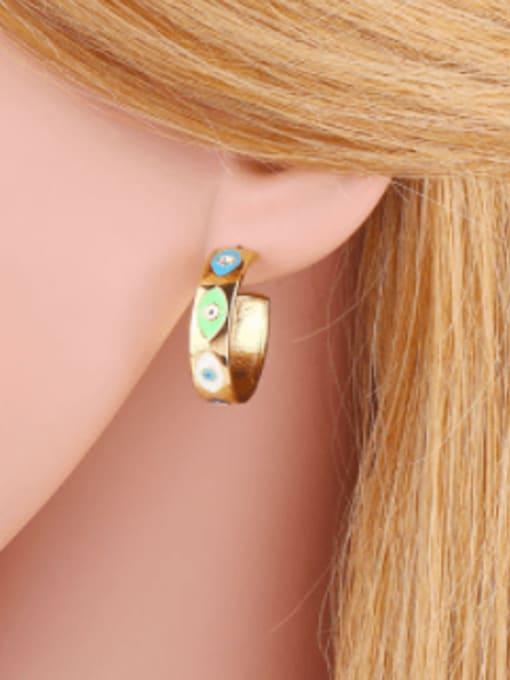 CC Brass Enamel Evil Eye Minimalist Stud Earring 1