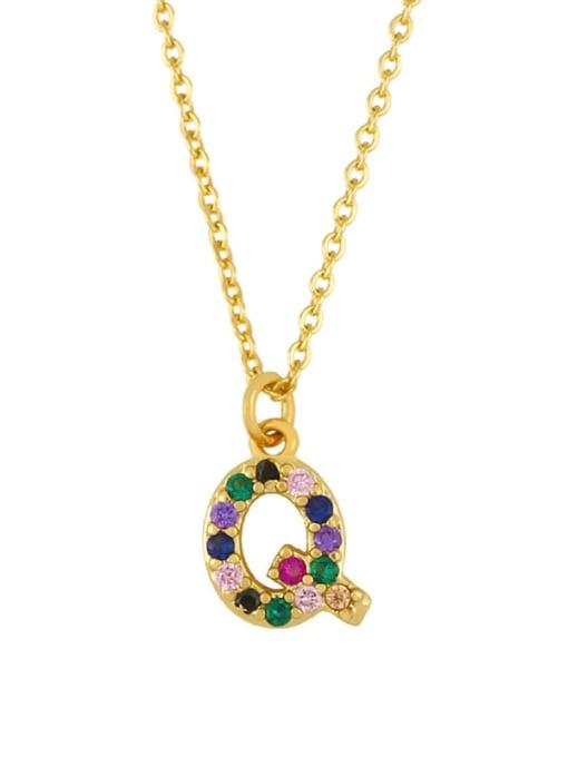 Q Brass Cubic Zirconia Letter Vintage Necklace