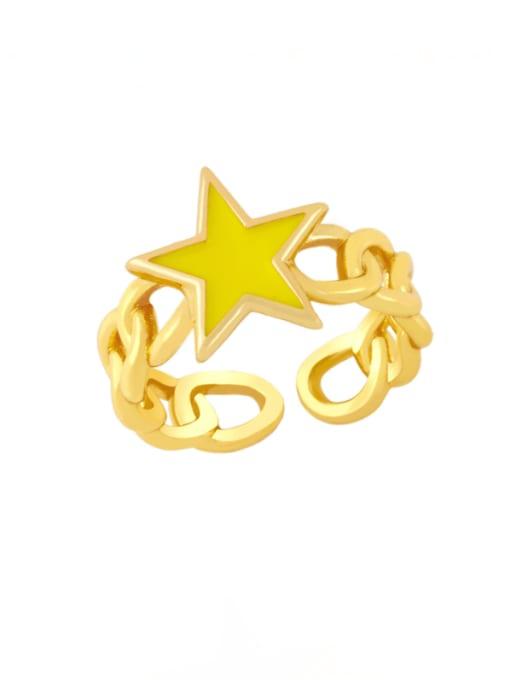 CC Brass Enamel Star Vintage Band Ring 2