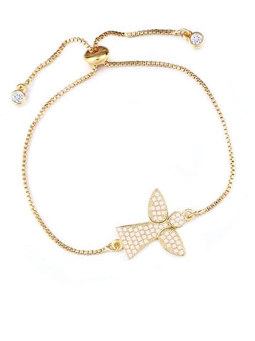 CC Brass Cubic Zirconia Angel Minimalist Link Bracelet