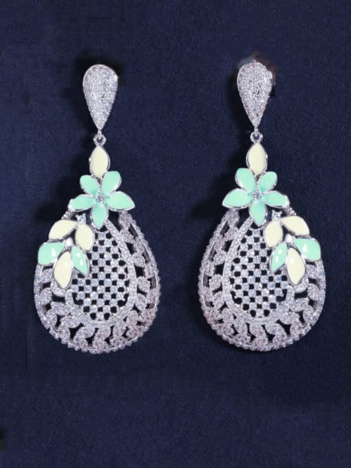 Platinum green Brass Cubic Zirconia Flower Luxury Drop Earring