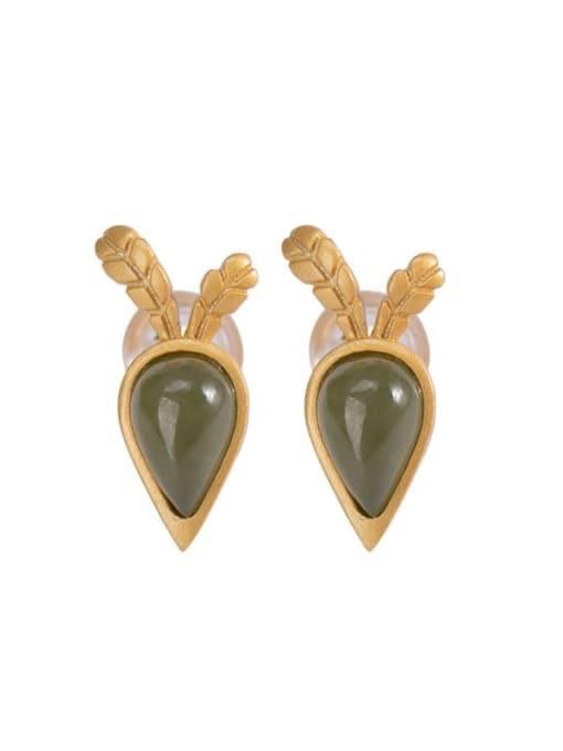 DEER 925 Sterling Silver Jade  Vintage  Carrot Stud Earring 0