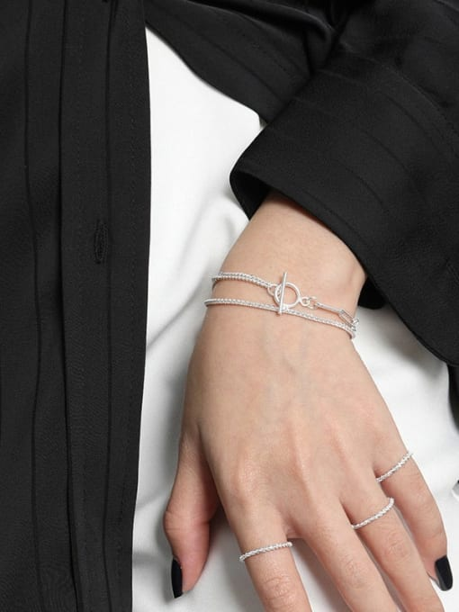 DAKA 925 Sterling Silver Geometric Vintage Strand Bracelet 1