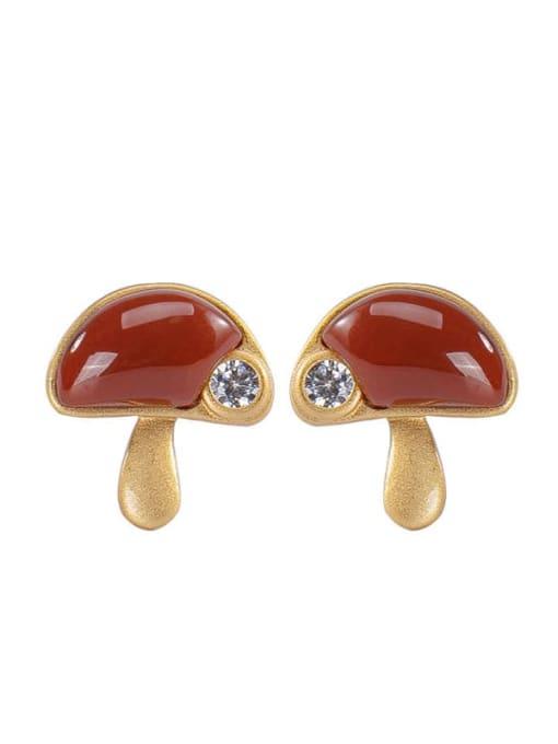 DEER 925 Sterling Silver Carnelian Mushroom Cute Stud Earring 3