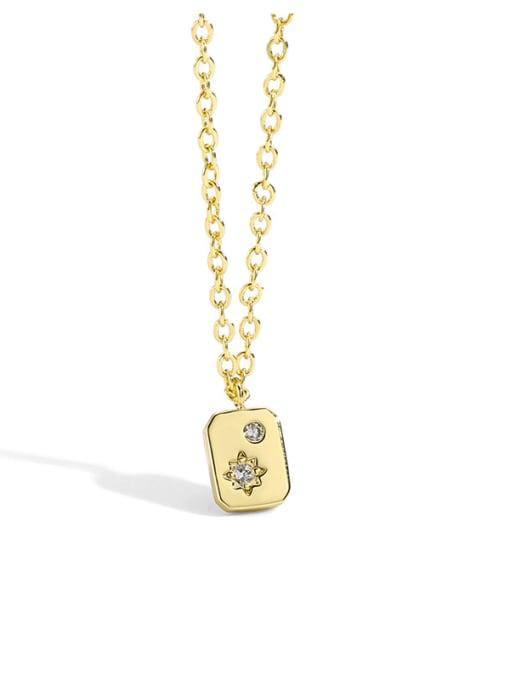 CHARME Brass Rhinestone Minimalist geometry Pendant Necklace