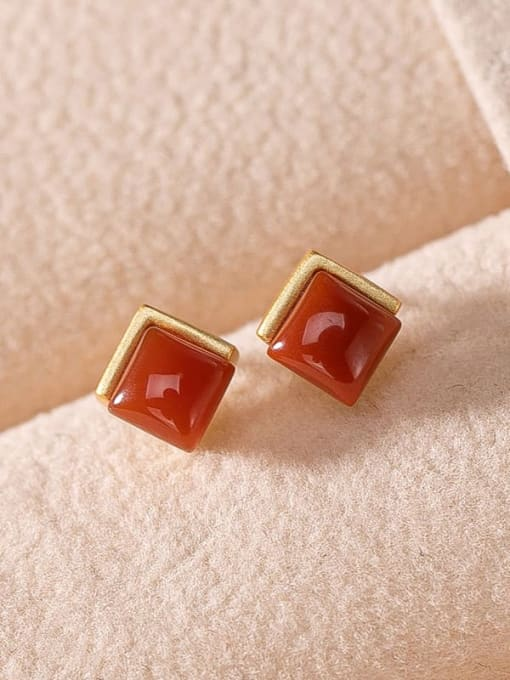Gold Plated South Red 925 Sterling Silver Jade Geometric Vintage Stud Earring