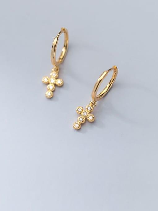 gold 925 Sterling Silver Cubic Zirconia Cross Minimalist Huggie Earring