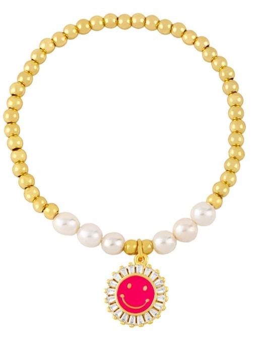 Rose red Brass Imitation Pearl Enamel Smiley Trend Beaded Bracelet