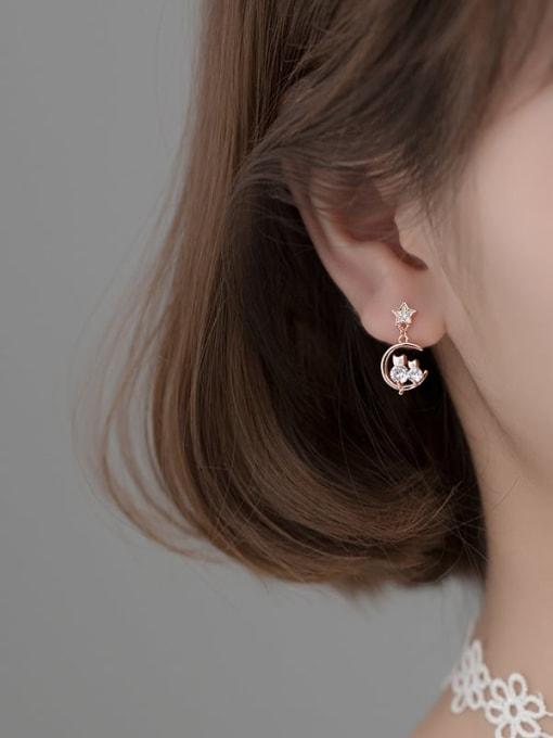 Rosh 925 Sterling Silver Cubic Zirconia Moon Dainty Drop Earring 2