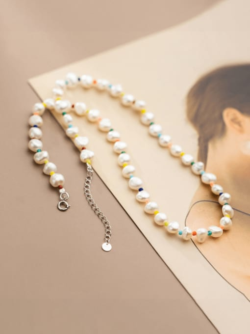 Rosh 925 Sterling Silver Freshwater Pearl Geometric Minimalist Necklace 1