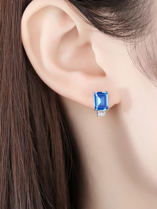 CCUI Chicago Style 925 Sterling Silver Cubic Zirconia Geometric Luxury Stud Earring 1