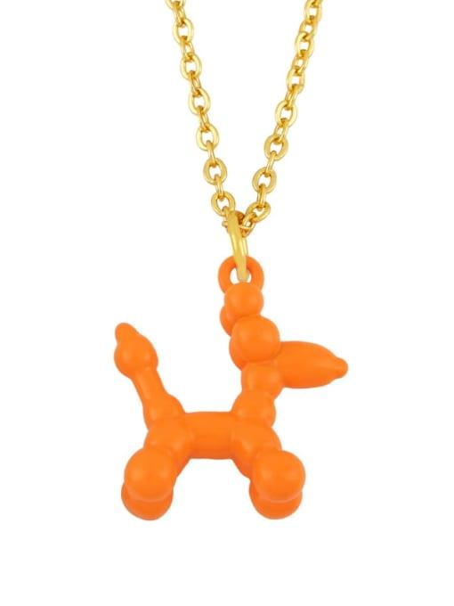 orange Brass Enamel Cute Dog Pendant Necklace