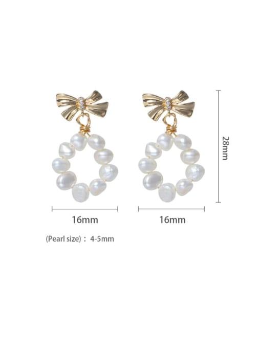 RAIN Brass Freshwater Pearl Bowknot Minimalist Drop Earring 2