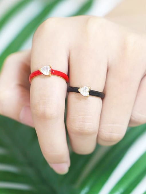 CC Brass Enamel Cubic Zirconia Heart Minimalist Band Ring 1