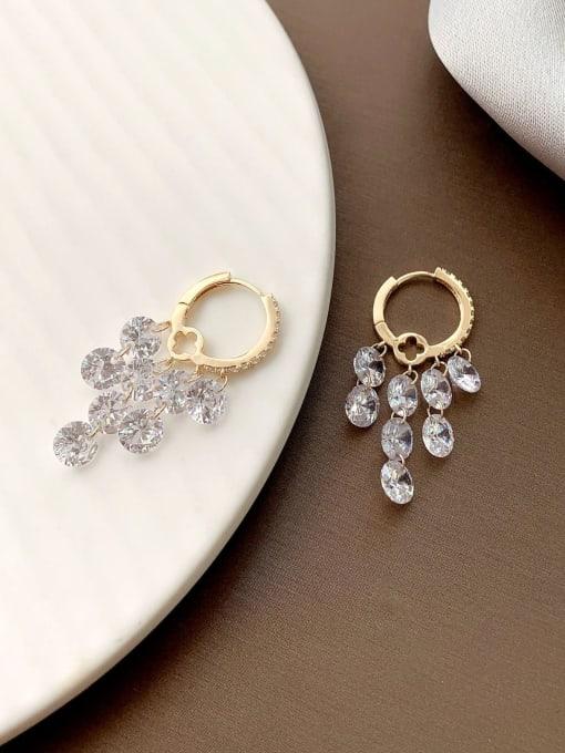 golden Brass Cubic Zirconia Geometric Minimalist Huggie Earring