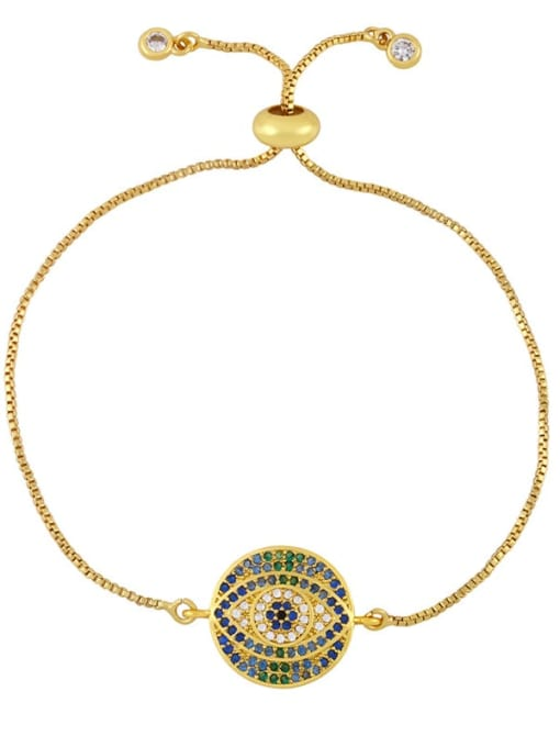 B Brass Cubic Zirconia Evil Eye Vintage Link Bracelet