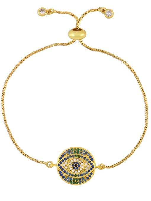 CC Brass Cubic Zirconia Evil Eye Vintage Link Bracelet 2