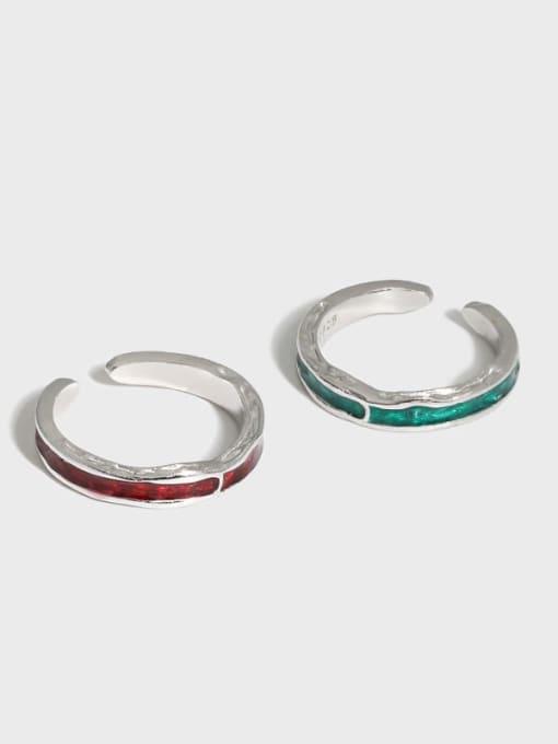 DAKA 925 Sterling Silver Enamel Irregular Vintage Band Ring 4