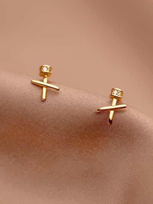 gold 925 Sterling Silver Cross Minimalist Stud Earring