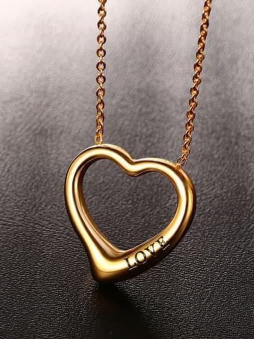 CONG Stainless steel Hollow Heart Minimalist Necklace 4