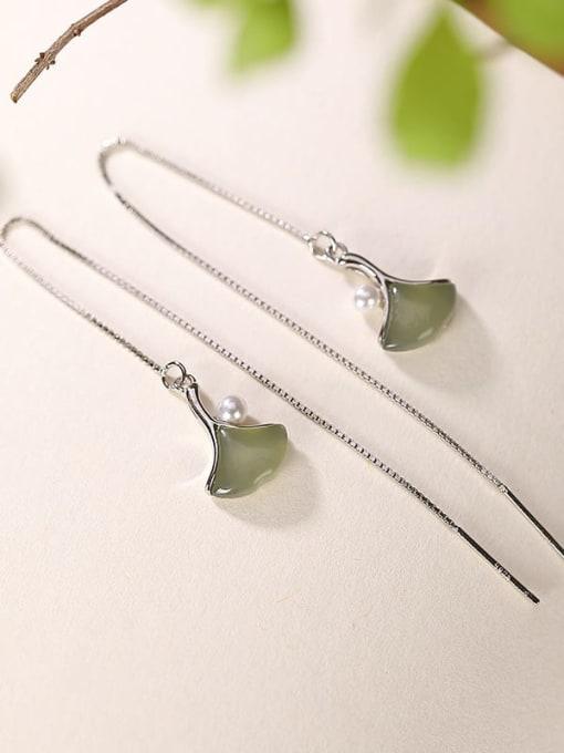 DEER 925 Sterling Silver Jade Geometric Minimalist Threader Earring 2