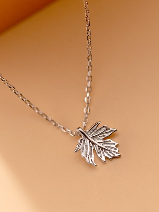 Rosh 925 Sterling Silver Leaf Minimalist Necklace 2