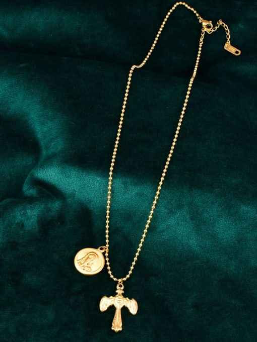 A TEEM Titanium Letter Vintage  cross Regligious Necklace 2