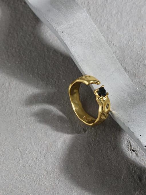 DAKA 925 Sterling Silver Cubic Zirconia Irregular Vintage Band Ring 3