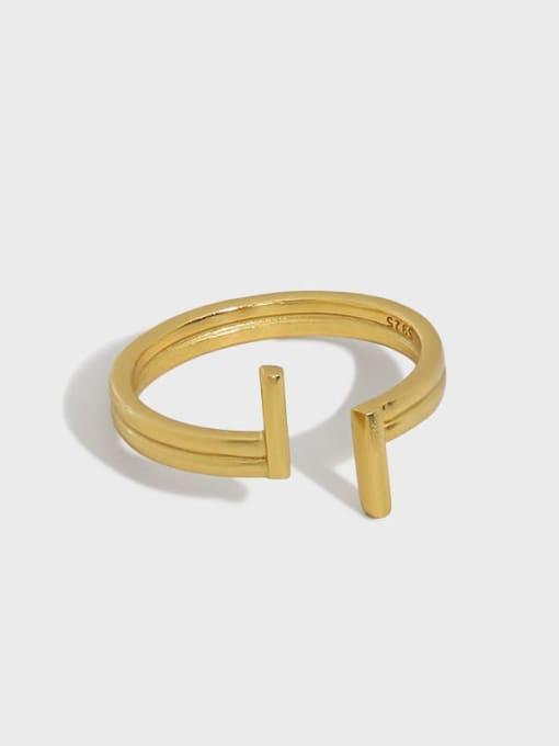 DAKA 925 Sterling Silver Irregular Minimalist Band Ring 0