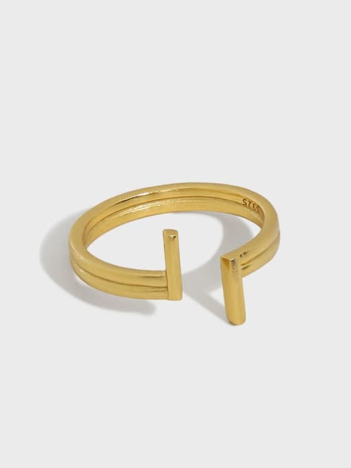 DAKA 925 Sterling Silver Irregular Minimalist Band Ring