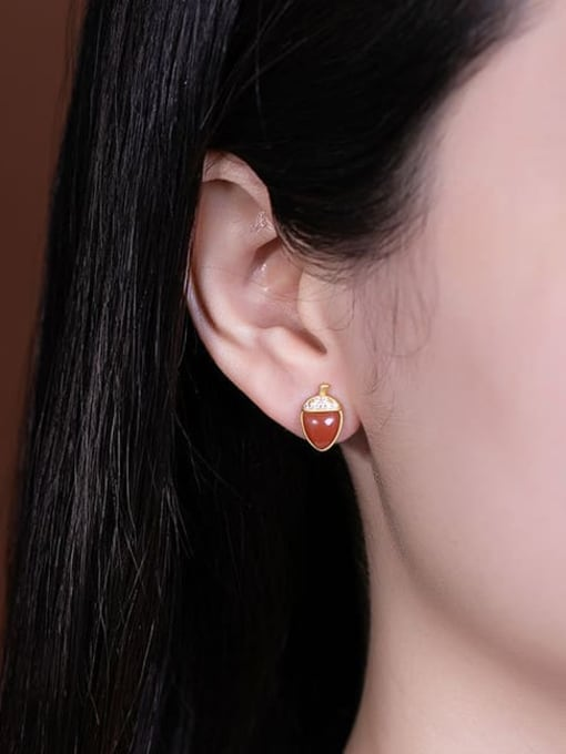 DEER 925 Sterling Silver Carnelian Irregular Vintage Stud Earring 3