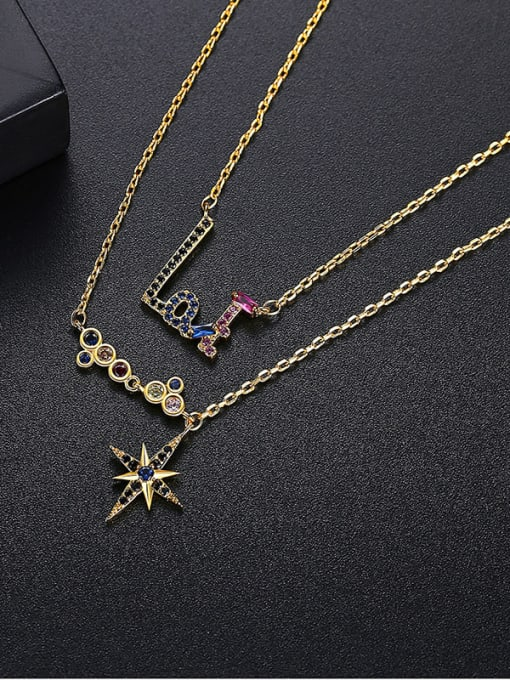 gold Brass Cubic Zirconia Star Dainty Multi Strand Necklace