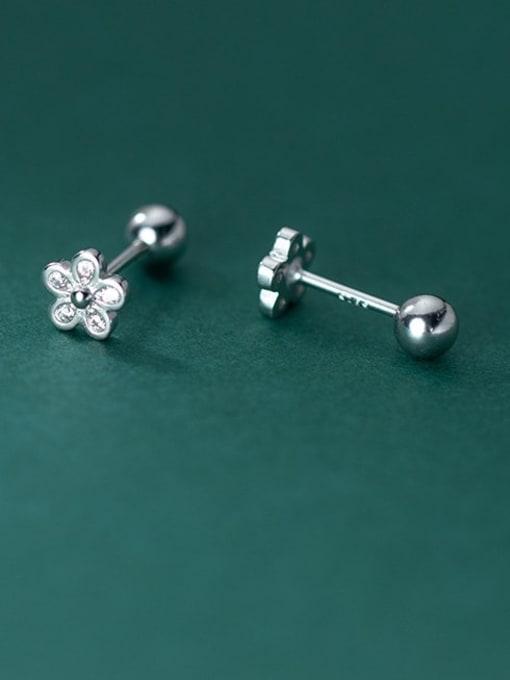 Rosh 925 Sterling Silver Flower Minimalist Stud Earring