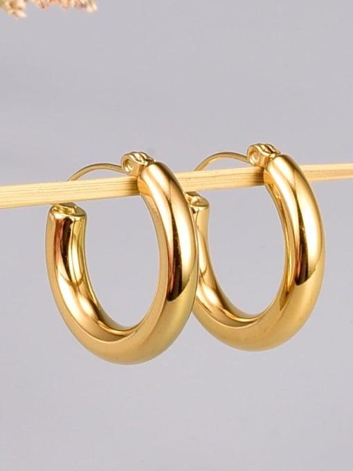 A TEEM Titanium Steel Smooth Round Minimalist Huggie Earring 1