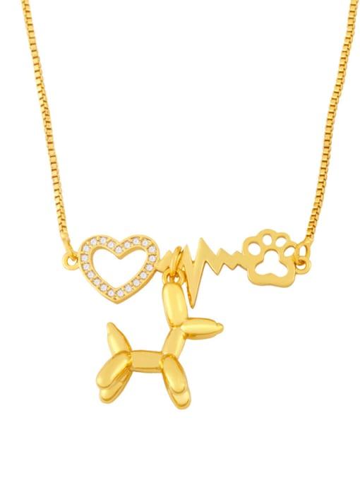B Brass Cubic Zirconia Heart Cute Necklace