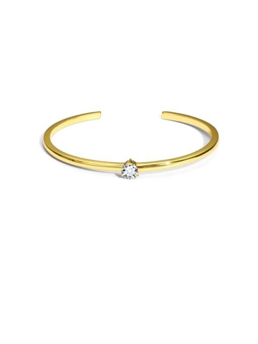 Gold Brass Cubic Zirconia Geometric Minimalist Cuff Bangle