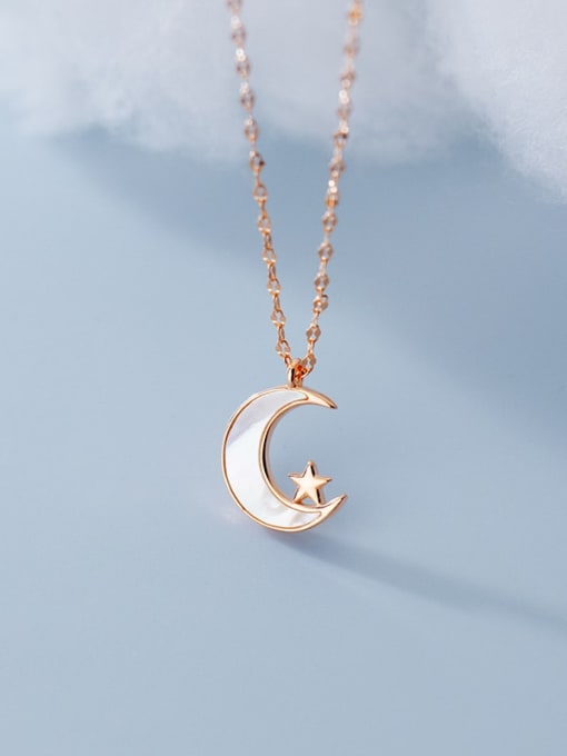 Rosh 925 Sterling Silver Shell Moon Minimalist Pendant Necklace 4