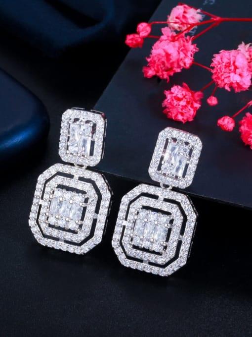 L.WIN Brass Cubic Zirconia Geometric Luxury Drop Earring