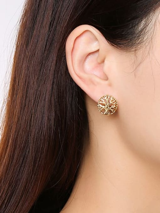 CONG Stainless steel Tree Hip Hop Stud Earring 2