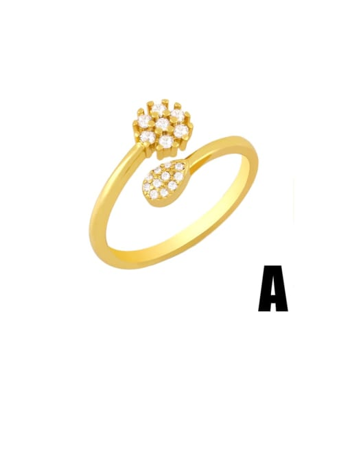 A Brass Cubic Zirconia Ball Minimalist Band Ring