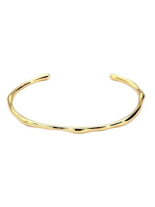 CHARME Brass Smooth Geometric Minimalist Cuff Bangle 3