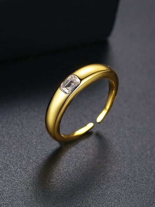 BLING SU Brass Cubic Zirconia Geometric Minimalist Band Ring 2