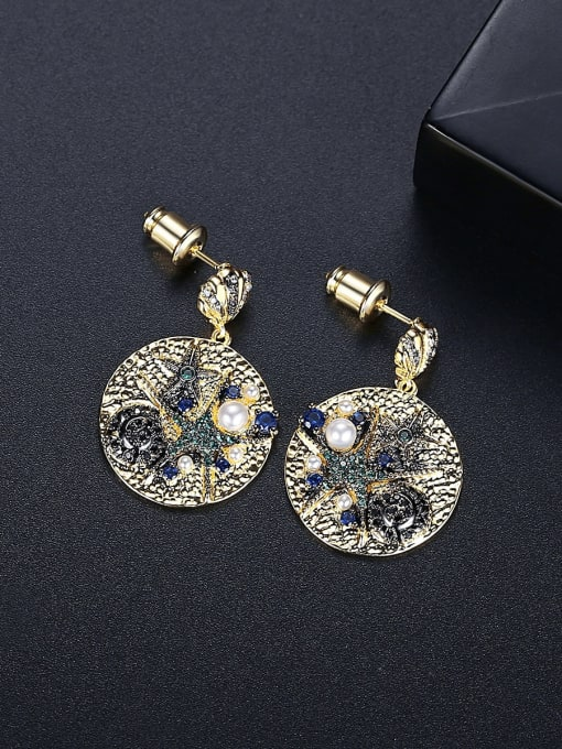BLING SU Brass Cubic Zirconia Geometric Vintage Drop Earring 2