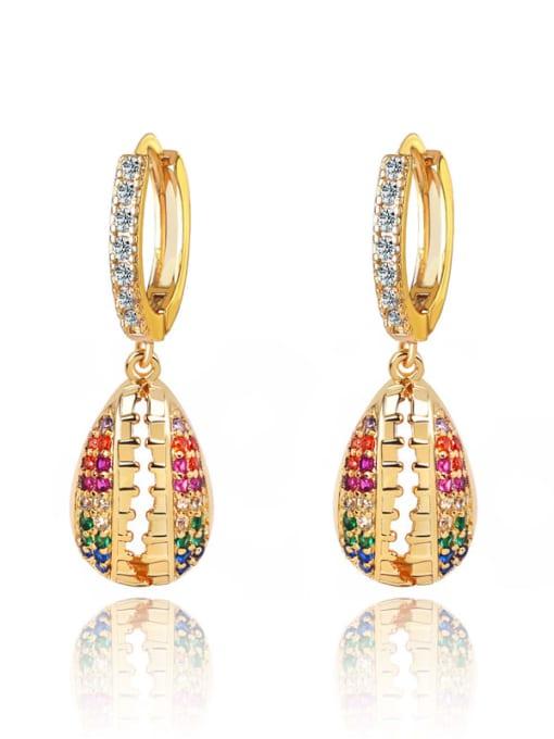 18K Gold Brass Cubic Zirconia Water Drop Vintage Huggie Earring