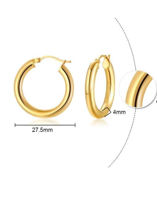 CONG Titanium Steel Round Minimalist Huggie Earring 1
