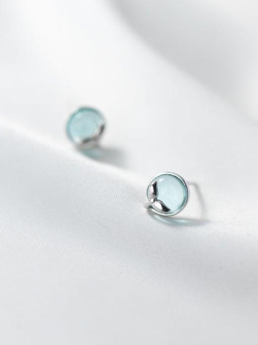 Rosh 925 Sterling Silver Cats Eye Round Minimalist Stud Earring 2